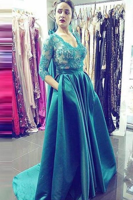 Half Sleeves Satin Prom Dresses V-neck Lace Women Party Dresses