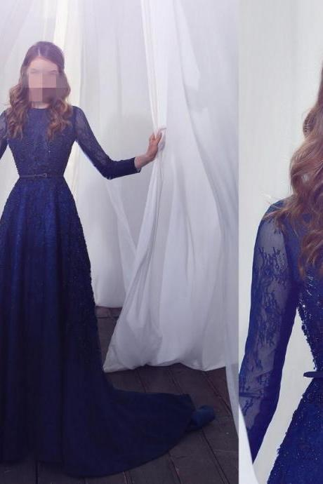 Royal Blue Chiffon Prom Dresses Half Sleeves Lace Beaded Women Party Dresses