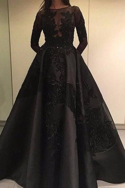 Black Satin Prom Dresses Full Sleeves Lace Appliques Women Party Dresses