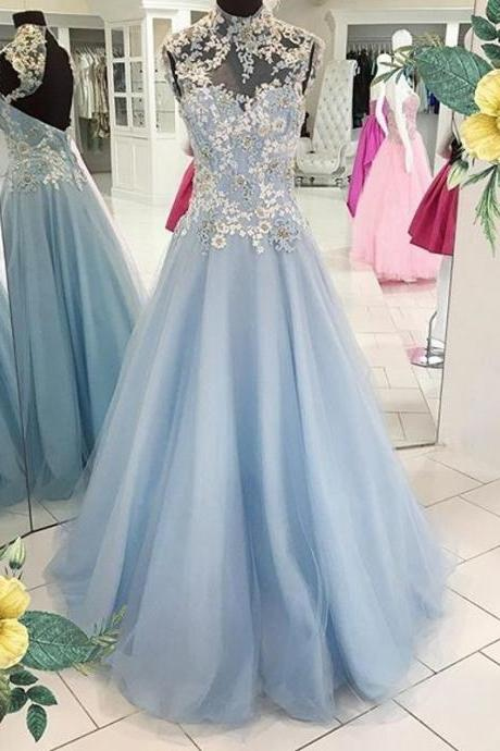 Open Back Tulle Prom Dresses Light Blue lace Women Party Dresses