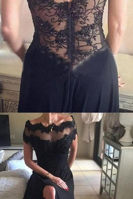 Scoop Neck Black Chiffon Prom Dresses Lace Appliques Women Party Dresses