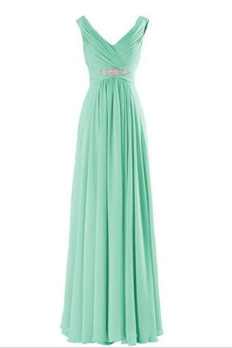 V-neck Long Chiffon Prom Dresses Crystals Women Party Dresses