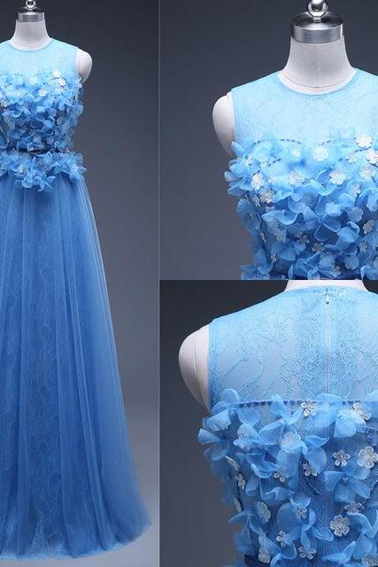 Blue Tulle Prom Dresses Flower Appliques Women Party Dresses 2017