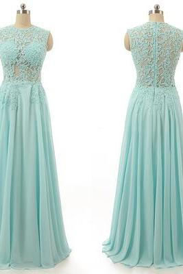 Long Chiffon Prom Dresses with Lace Appliques Floor Length Women Party Dresses