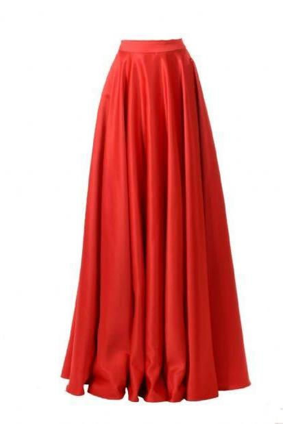 Long Red Satin Half Dresses