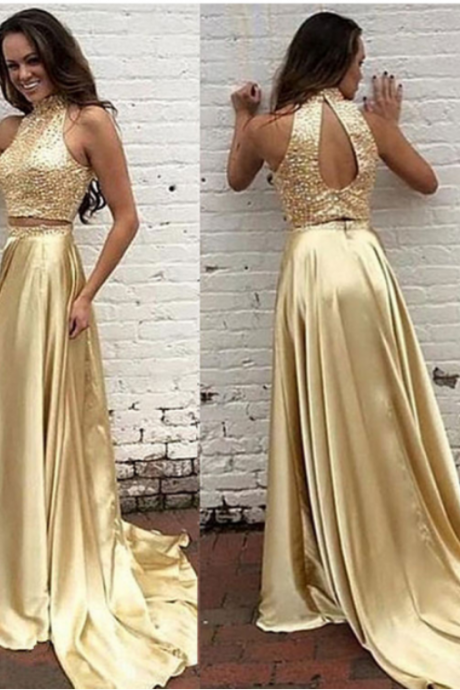 Halter Neck 2 Pieces Elastic Satin Prom Dresses with Crystals Women Dresses