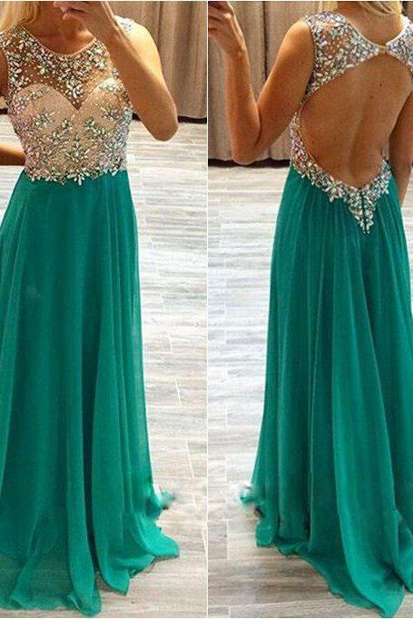 Open Back Long Chiffon Prom Dresses Scoop Neck Crystals Women Dresses