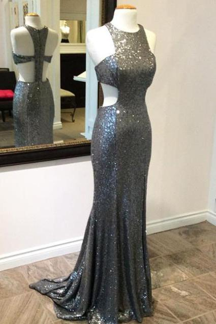 Halter Full-Sequinned Cut Out Mermaid Long Prom, Evening Dress