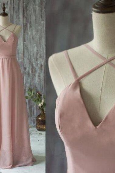 Pink Chiffon Prom Dresses Floor Length Women Party Dresses with Spaghetti straps