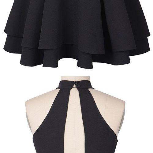 Black High Halter Neck Short Ruffled Homecoming Dress Featuring Cutout Back, Formal Dress