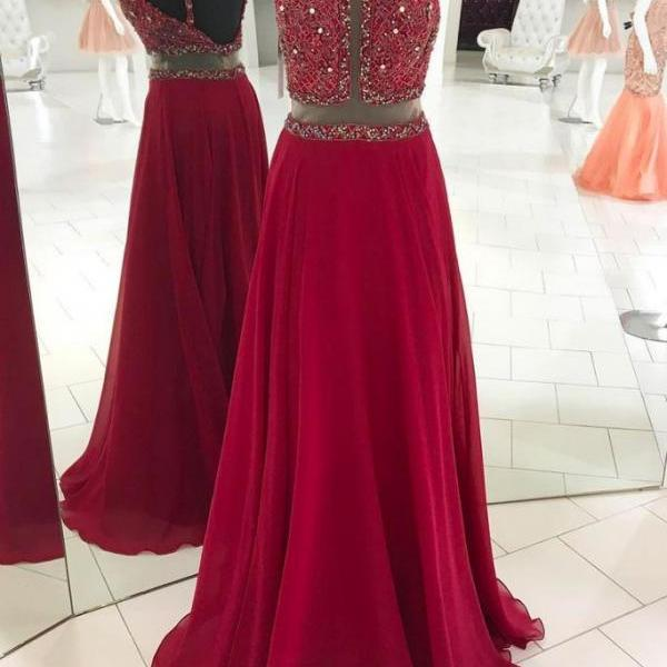 Open back Long Red Chiffon Prom Dress Halter Neck Beaded Women Dress