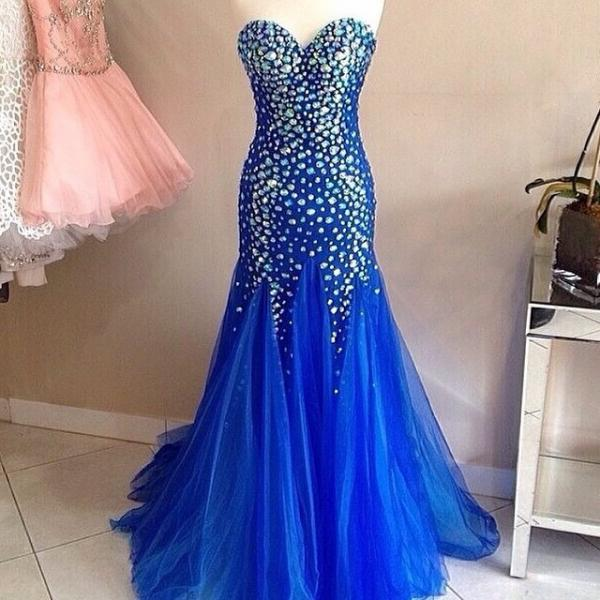 Mermaid Tulle Blue Prom Dress Strapless Crystals Women Dress