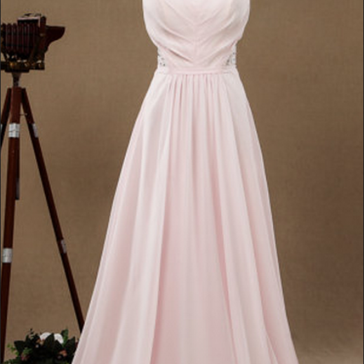 V Neck Long Pink Chiffon Prom Dress Pleat Floor Length Women Dress