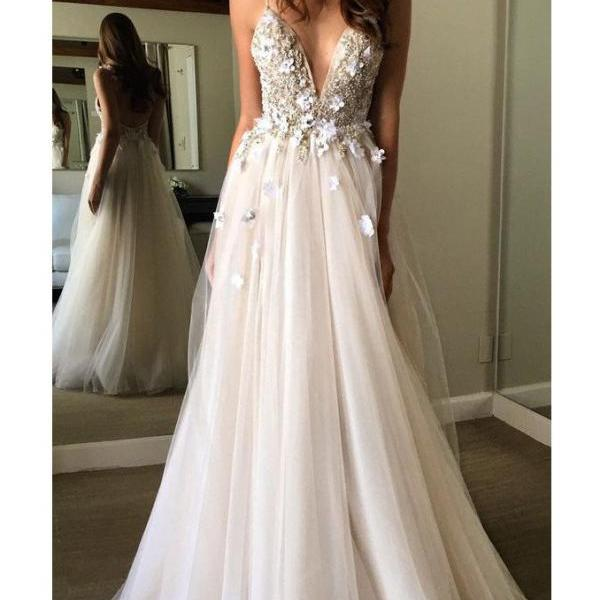 Spaghetti Straps A-line Tulle Prom Dress Beaded Lace Appliques
