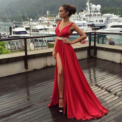 Slit Long Red Satin prom Dress V Neck Beaded Floor Length Women Evening Gowns
