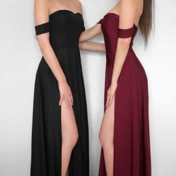 off the shoulder Sheath Chiffon Prom Dress Floor Length Slit Women Evening Dress