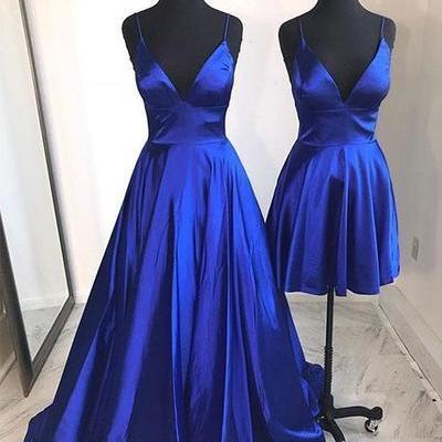 Spaghetti Straps Royal Blue Satin Prom Dress V Neck Women Evening Gowns