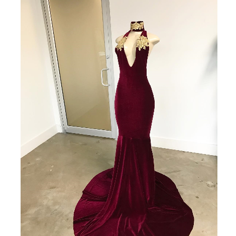 High Neck Mermaid Suede Women Evening Dress Floor Length Women Evening Dress 2019