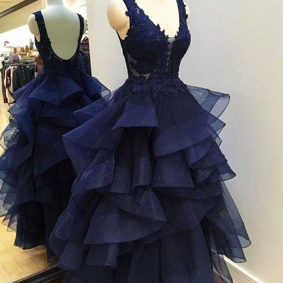 navy Blue Tulle Prom Dress Lace Appliques Floor Length Women Dress