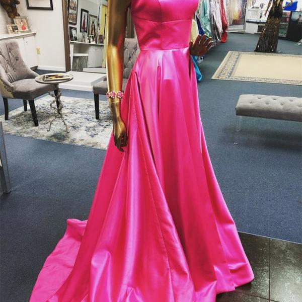 Spaghetti Straps A-line Satin Prom Dress Floor Length Women Evening Gowns 2019
