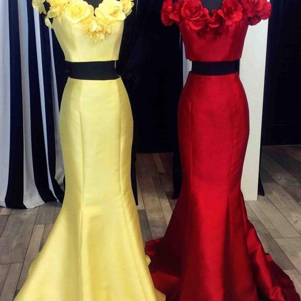 Off the Shoulder Mermaid Satin Prom Dress 2 Pieces Floor Length Women Evening Dress 2019