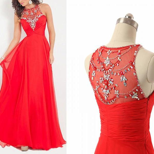 Red Chiffon Prom Dresses Crystals Beaded Party Dresses Floor Length Sleeves Pleat Formal Women Dresses