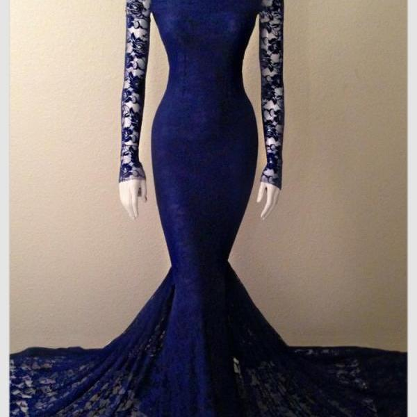 Royal Blue Formal Evening Dresses Long Sleeve Lace Party Dresses, Charming Mermaid Party Dresses