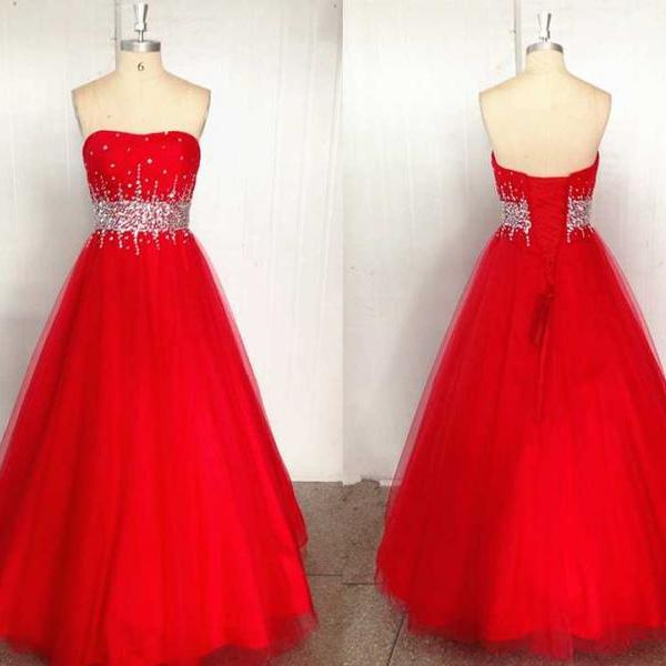 2016 Charming A-line Tulle Prom Dresses Sweetheart Neck Crystals Beaded Floor Length Women Dresses