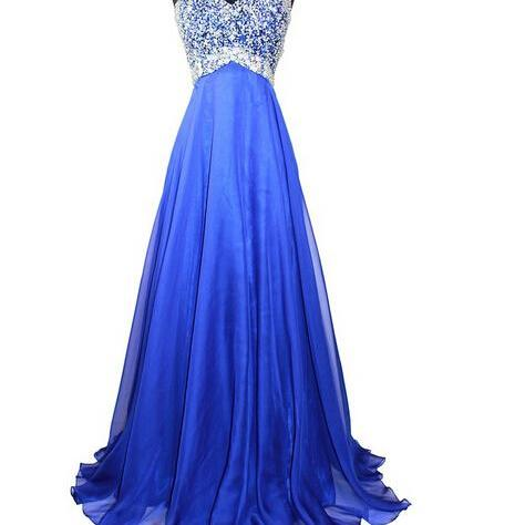 One Shoulder Long Chiffon Prom Dresses Crystals Beaded Party Dresses Women Dresses 2016
