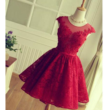 Scoop Neck Short Tulle Homecoming Dresses 2016 Lace Appliques Custom Made Mini Party Dresses