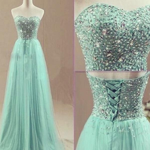 Sweetheart Neck Tulle Prom Dresses with Crystals Floor Length Women Party Dresses