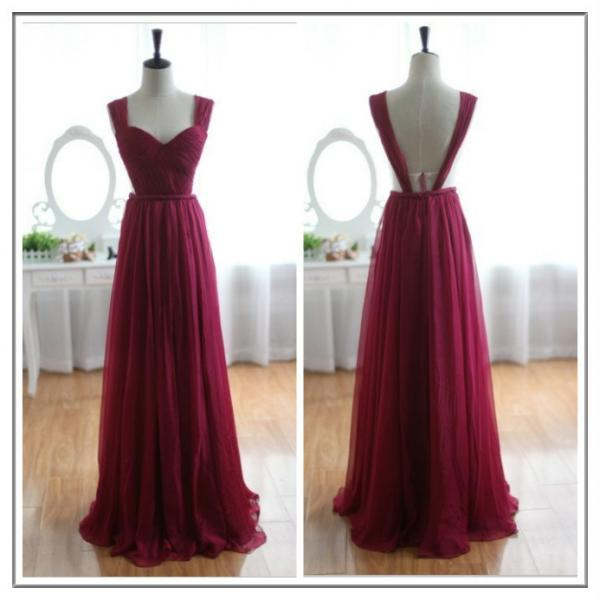 New Open Back Wine Red Tulle Prom Dresses Custom Made Women Party Dresses