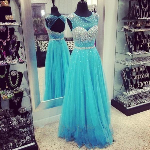 Scoop Neck Tulle Prom Dresses with Crystals Custom Made Women Party Dresses