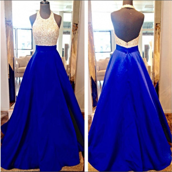 O-neck Royal Blue Satin Prom Dresses Crystals beaded Women Party Dresses