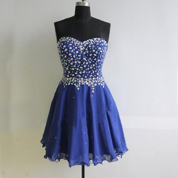 Royal Blue Short Chiffon Homecoming Dresses Crystals Women party Dresses