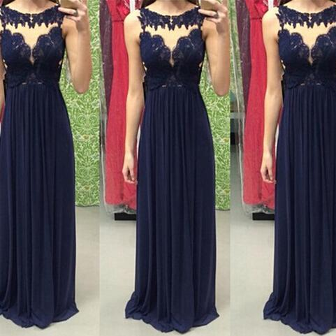 Scoop Neck Long Chiffon Prom Dresses Lace Appliques Women Party Dresses