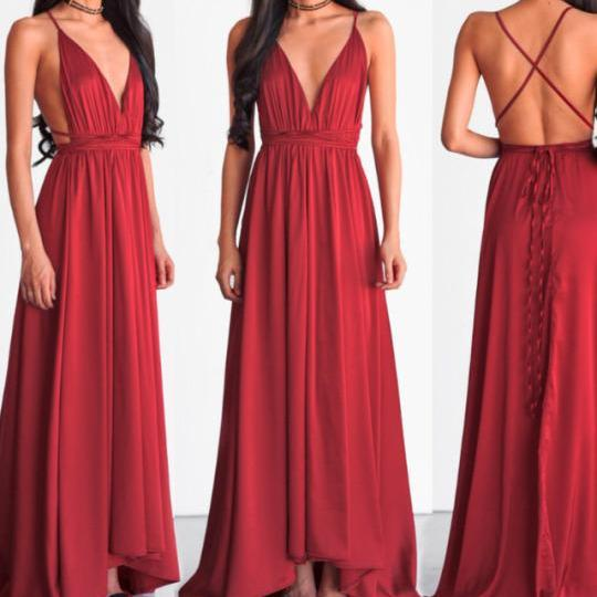 Open Back Long Red Chiffon Prom Dresses V-neck Floor Length Women Dresses