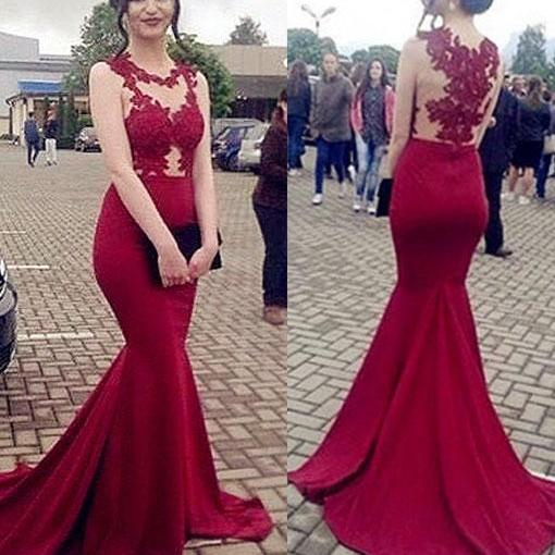 Mermaid Burgundy Chiffon Prom Dresses Scoop neck Lace Appliques Women Party Dresses