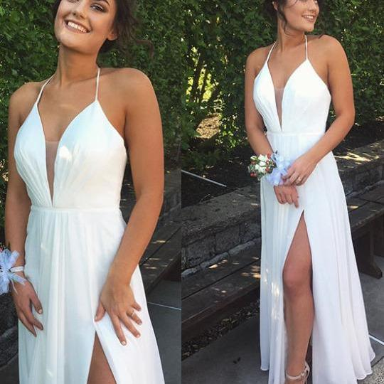 Simple White Chiffon Prom Dresses V-neck Women Party Dresses